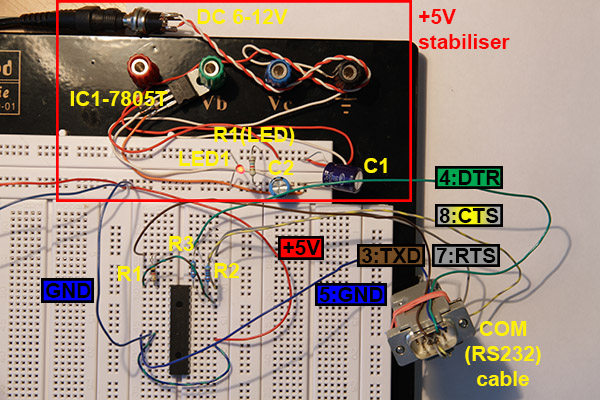 PIC18F2550 serial programmer on experiment solderless breadboard