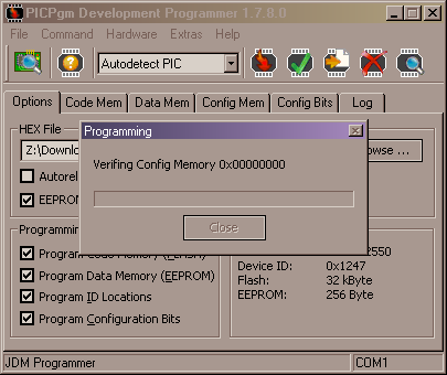 PICpgm - PIC configuration memory verifying progress