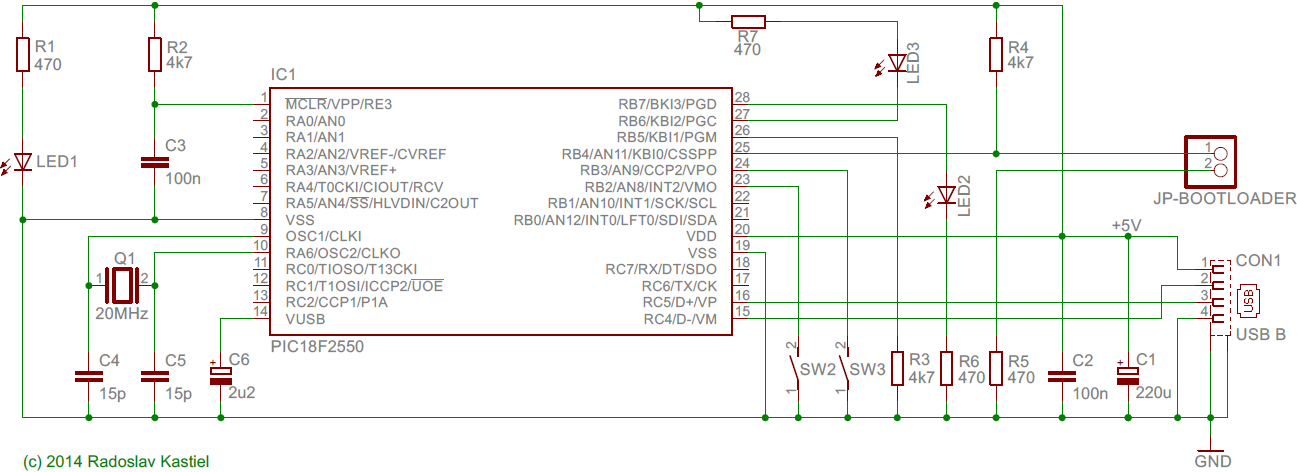PIC18F2550 USB LED controller scheme
