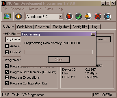 PICpgm - PIC EEPROM data memory programming progress