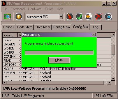 PICpgm - PIC programming finished successfully