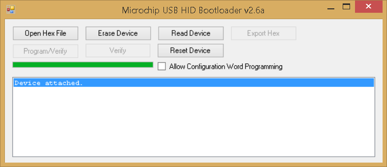 Microchip USB HID Bootloader v2.6a - device attached