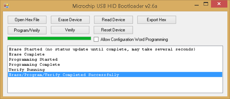 Microchip USB HID Bootloader v2.6a - done successfully